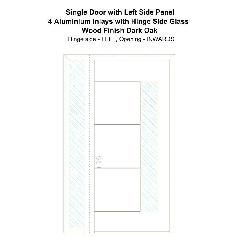Sd1sp(left) 4 Aluminium Inlays With Hinge Side Glass Wood Finish Dark Oak Security Door