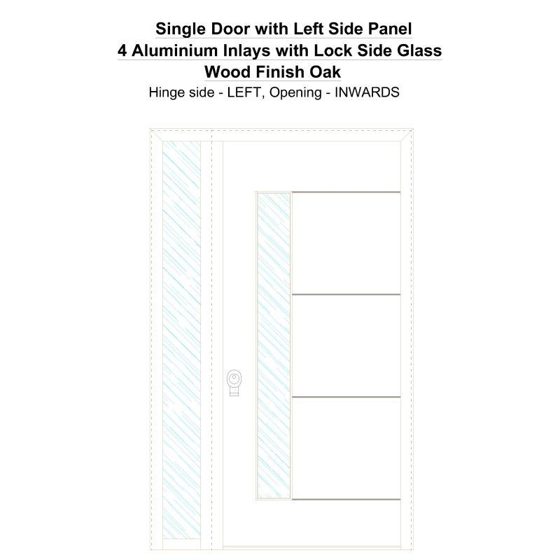 Sd1sp(left) 4 Aluminium Inlays With Lock Side Glass Wood Finish Oak Security Door