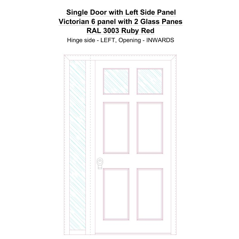 Sd1sp(left) Victorian 6 Panel With 2 Glass Panes Ral 3003 Ruby Red Security Door
