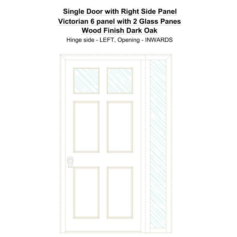 Sd1sp(right) Victorian 6 Panel With 2 Glass Panes Wood Finish Dark Oak Security Door