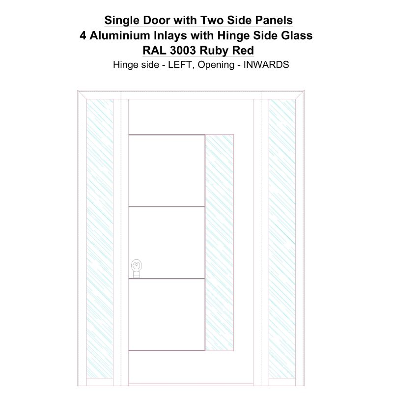 Sd2sp 4 Aluminium Inlays With Hinge Side Glass Ral 3003 Ruby Red Security Door