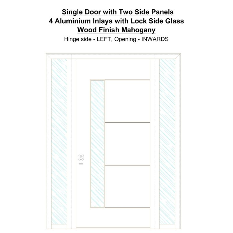 Sd2sp 4 Aluminium Inlays With Lock Side Glass Wood Finish Mahogany Security Door