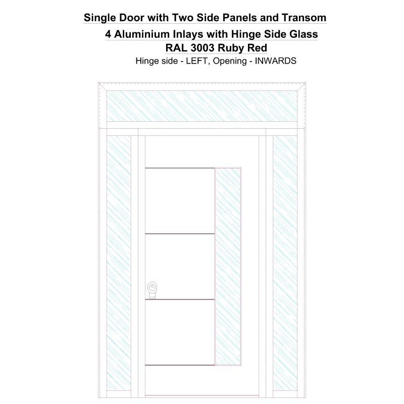 Sd2spt 4 Aluminium Inlays With Hinge Side Glass Ral 3003 Ruby Red Security Door