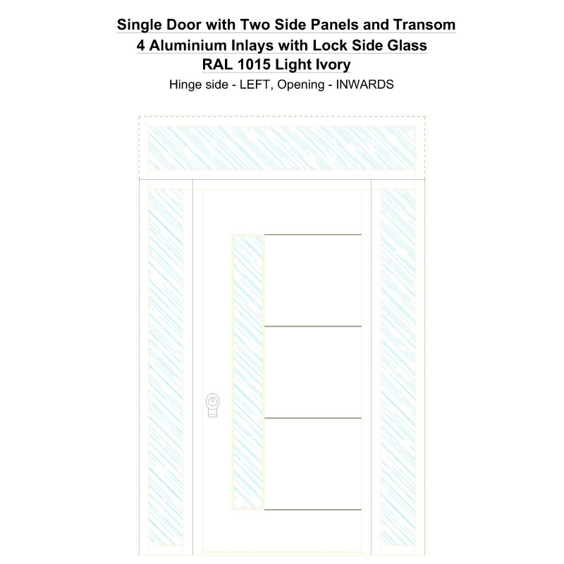 Sd2spt 4 Aluminium Inlays With Lock Side Glass Ral 1015 Light Ivory Security Door
