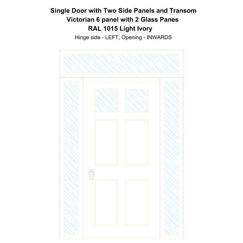 Sd2spt Victorian 6 Panel With 2 Glass Panes Ral 1015 Light Ivory Security Door