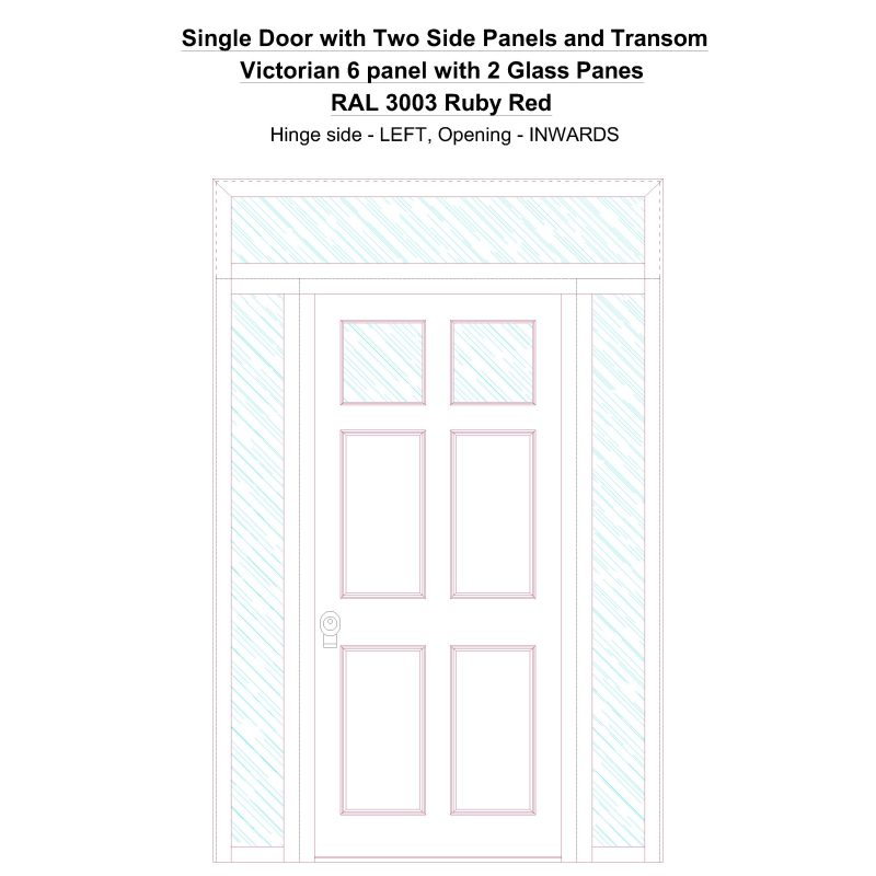 Sd2spt Victorian 6 Panel With 2 Glass Panes Ral 3003 Ruby Red Security Door