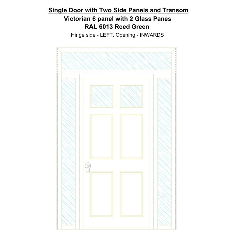 Sd2spt Victorian 6 Panel With 2 Glass Panes Ral 6013 Reed Green Security Door