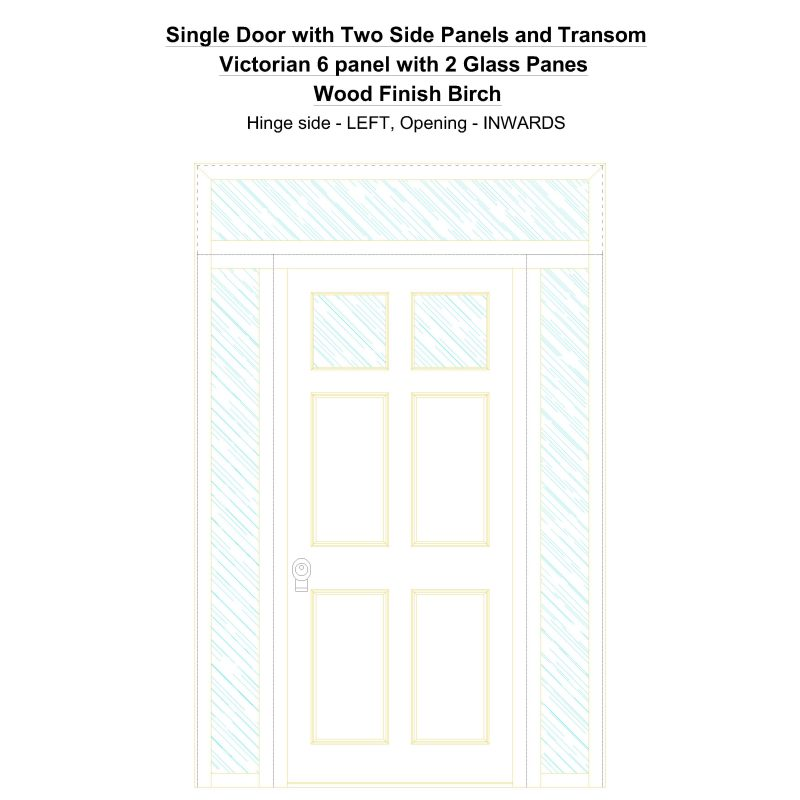 Sd2spt Victorian 6 Panel With 2 Glass Panes Wood Finish Birch Security Door