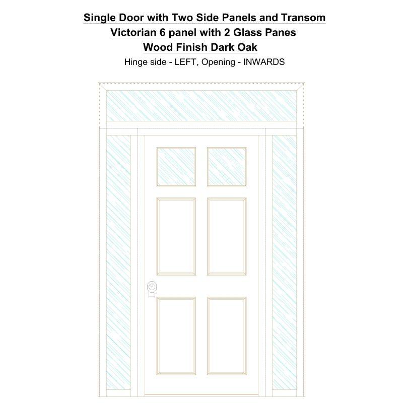 Sd2spt Victorian 6 Panel With 2 Glass Panes Wood Finish Dark Oak Security Door