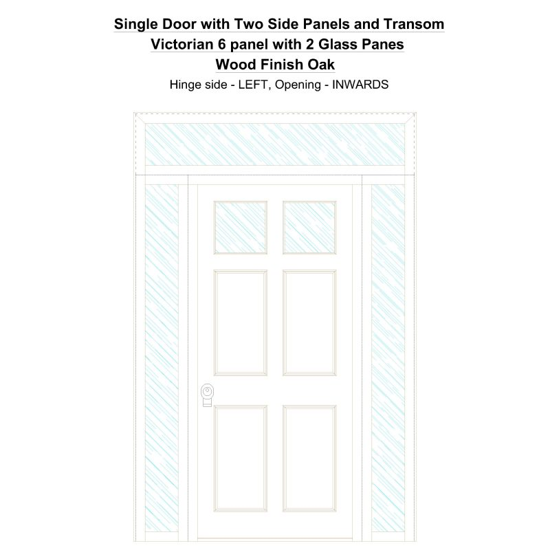Sd2spt Victorian 6 Panel With 2 Glass Panes Wood Finish Oak Security Door