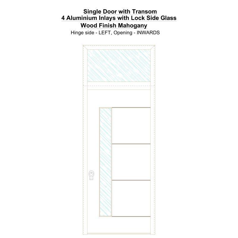 Sdt 4 Aluminium Inlays With Lock Side Glass Wood Finish Mahogany Security Door