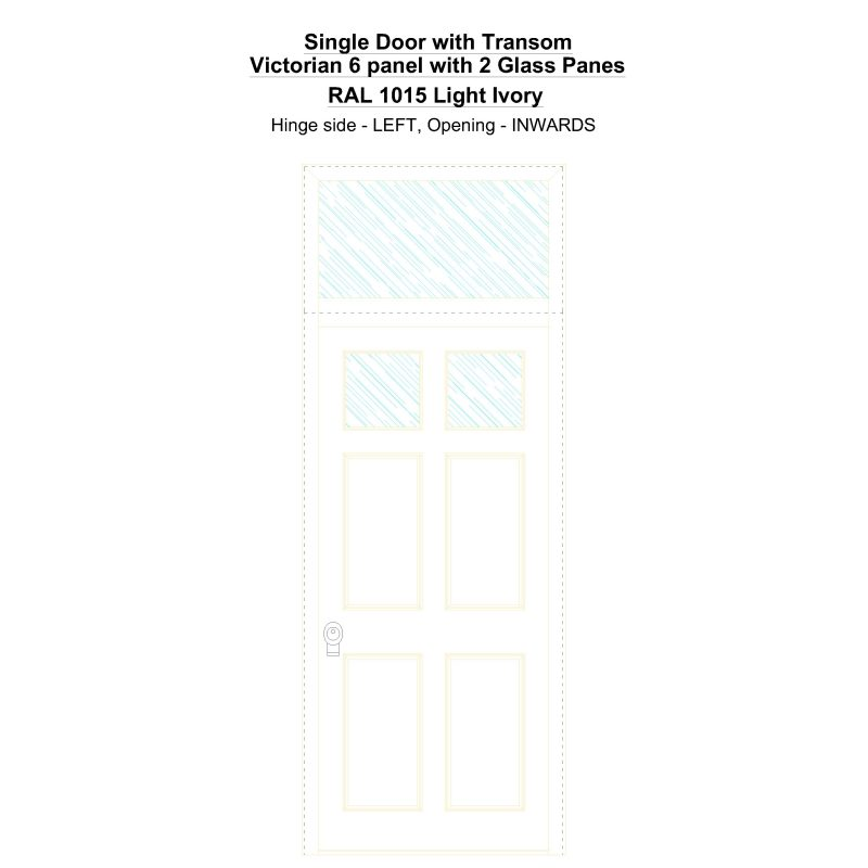 Sdt Victorian 6 Panel With 2 Glass Panes Ral 1015 Light Ivory Security Door