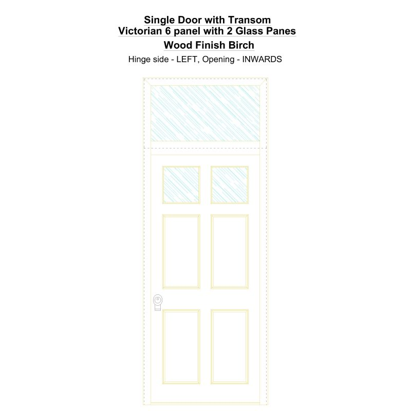 Sdt Victorian 6 Panel With 2 Glass Panes Wood Finish Birch Security Door
