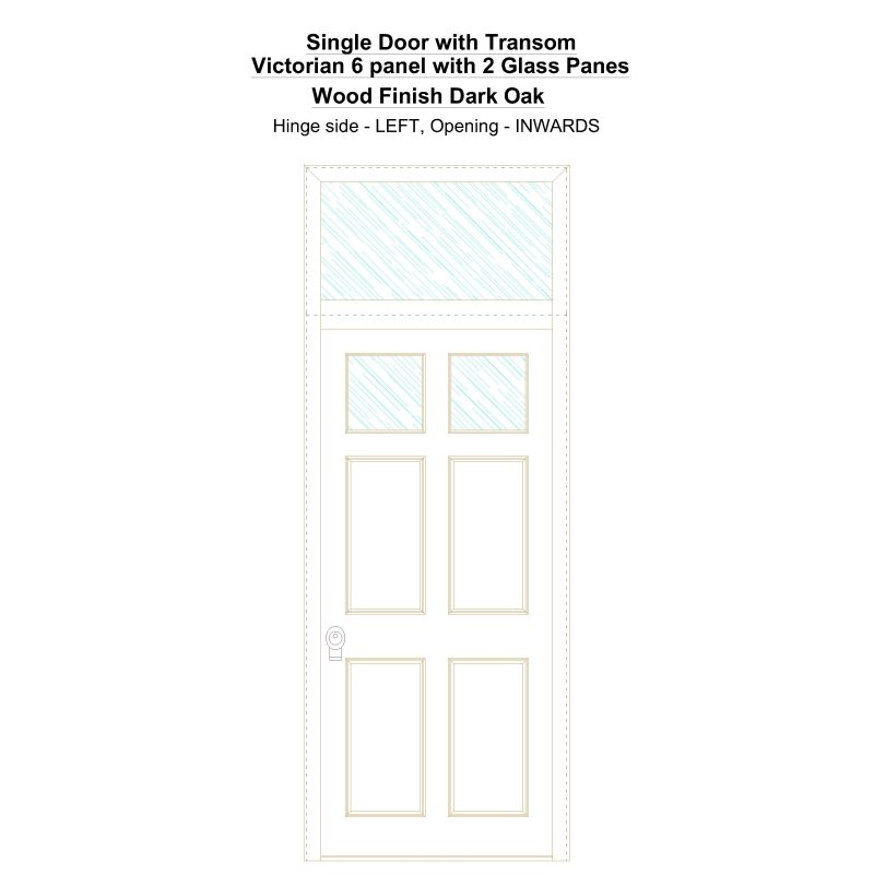 Sdt Victorian 6 Panel With 2 Glass Panes Wood Finish Dark Oak Security Door