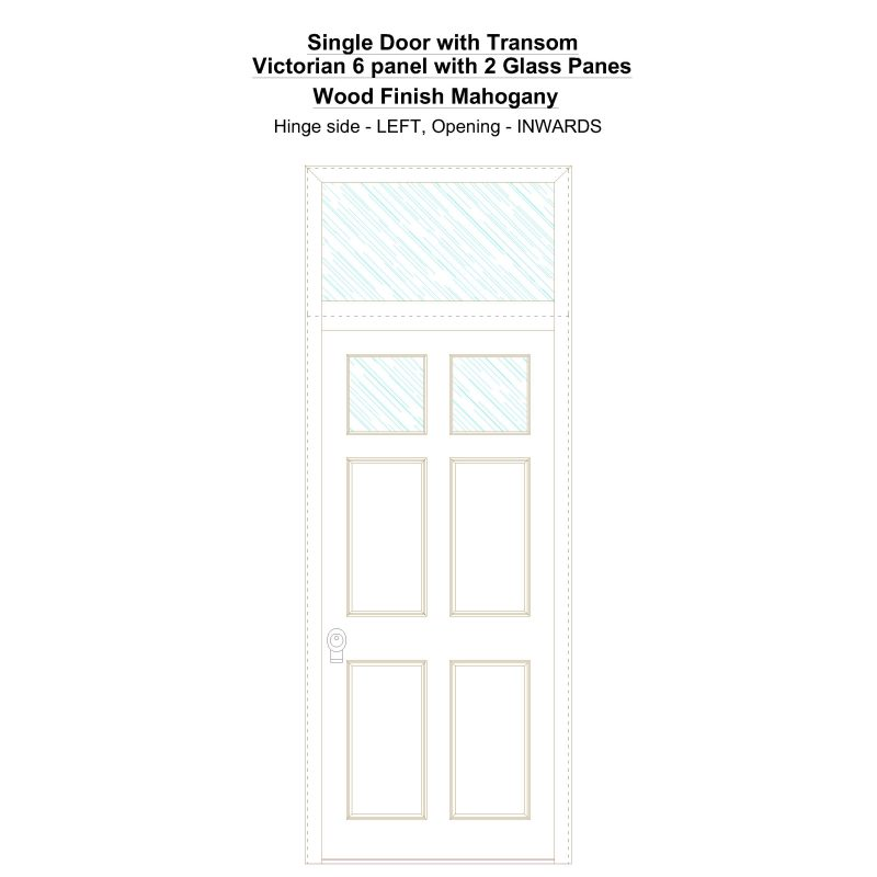Sdt Victorian 6 Panel With 2 Glass Panes Wood Finish Mahogany Security Door