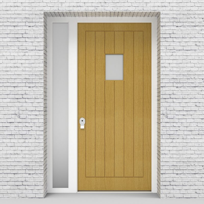 1.single Door With Left Side Panel 7 Vertical Lines With Rectangle Pane Birch
