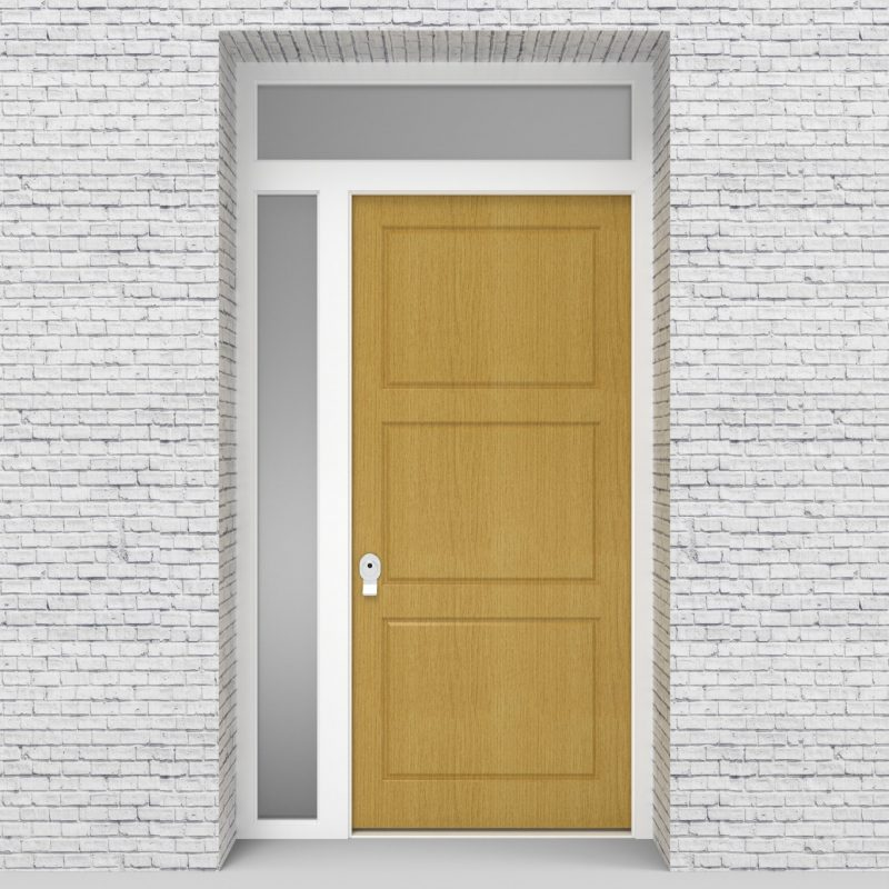 1.single Door With Left Side Panel And Transom Edwardian Birch