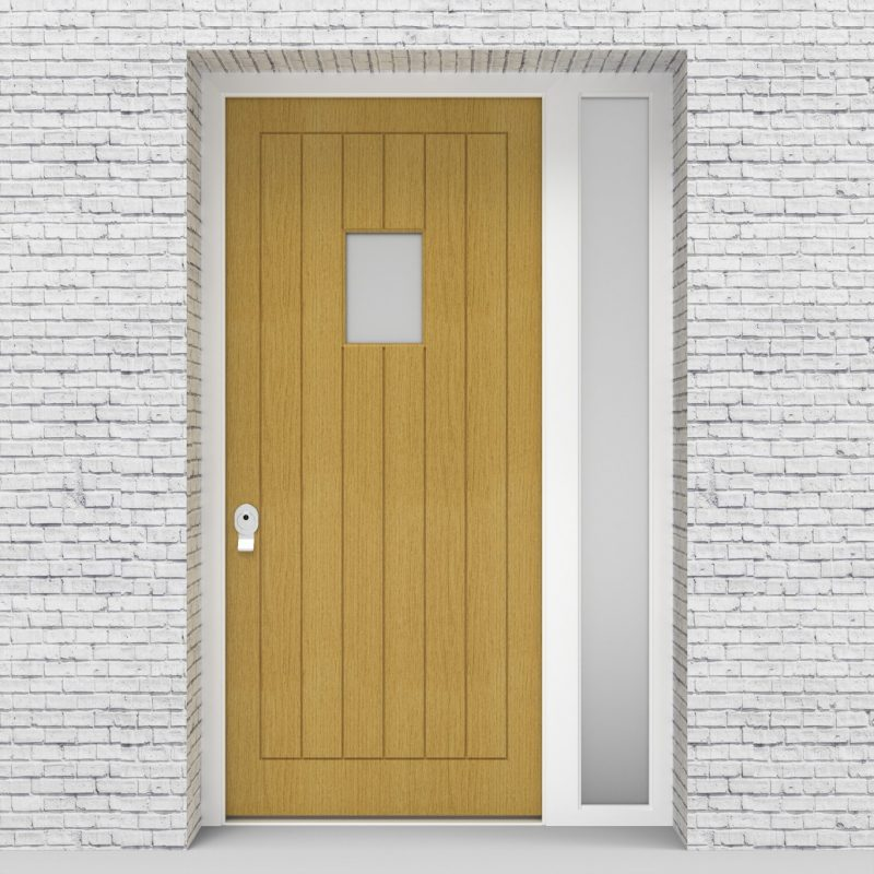 1.single Door With Right Side Panel 7 Vertical Lines With Rectangle Pane Birch