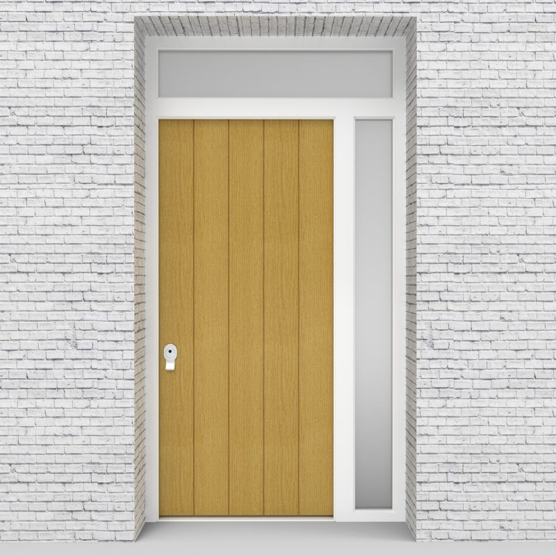 1.single Door With Right Side Panel And Transom 4 Vertical Lines Birch