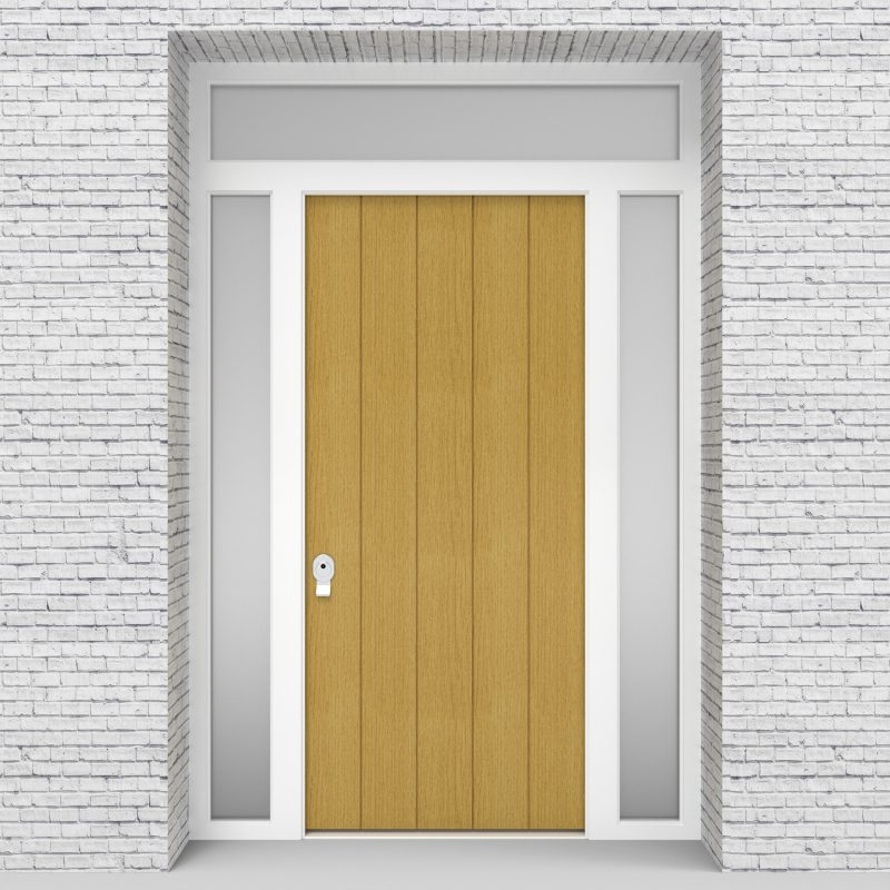 1.single Door With Two Side Panels And Transom 4 Vertical Lines Birch