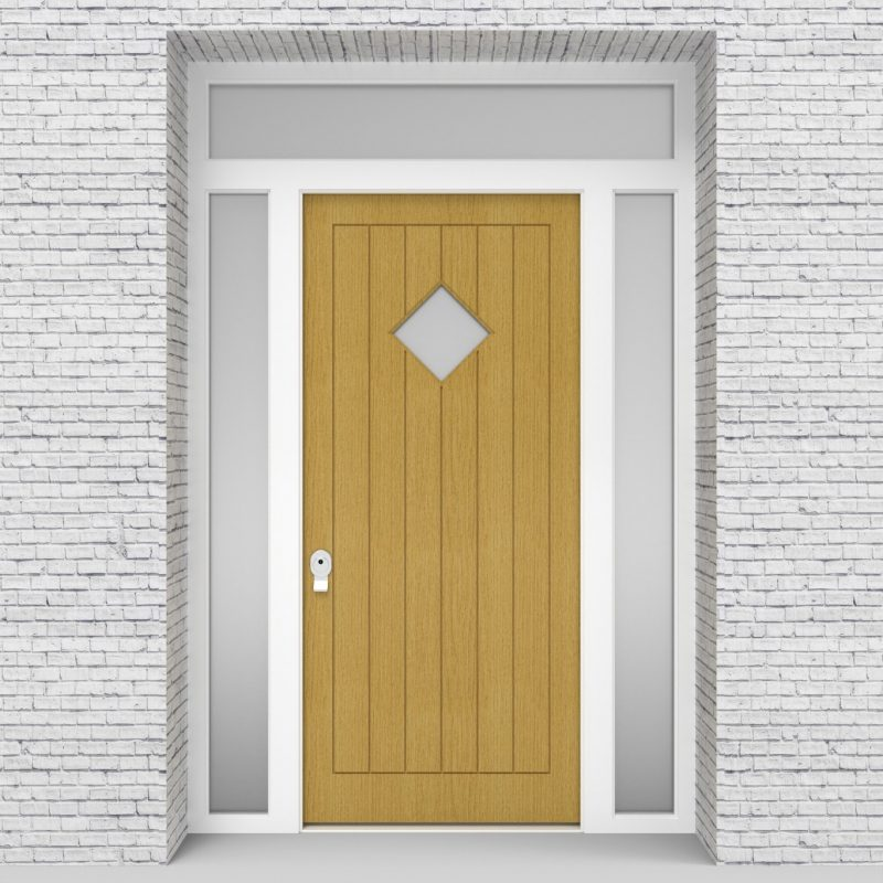 1.single Door With Two Side Panels And Transom 7 Vertical Lines With Diamond Pane Birch