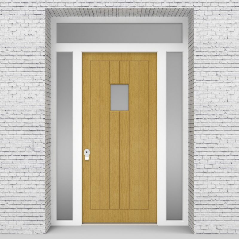 1.single Door With Two Side Panels And Transom 7 Vertical Lines With Rectangle Pane Birch