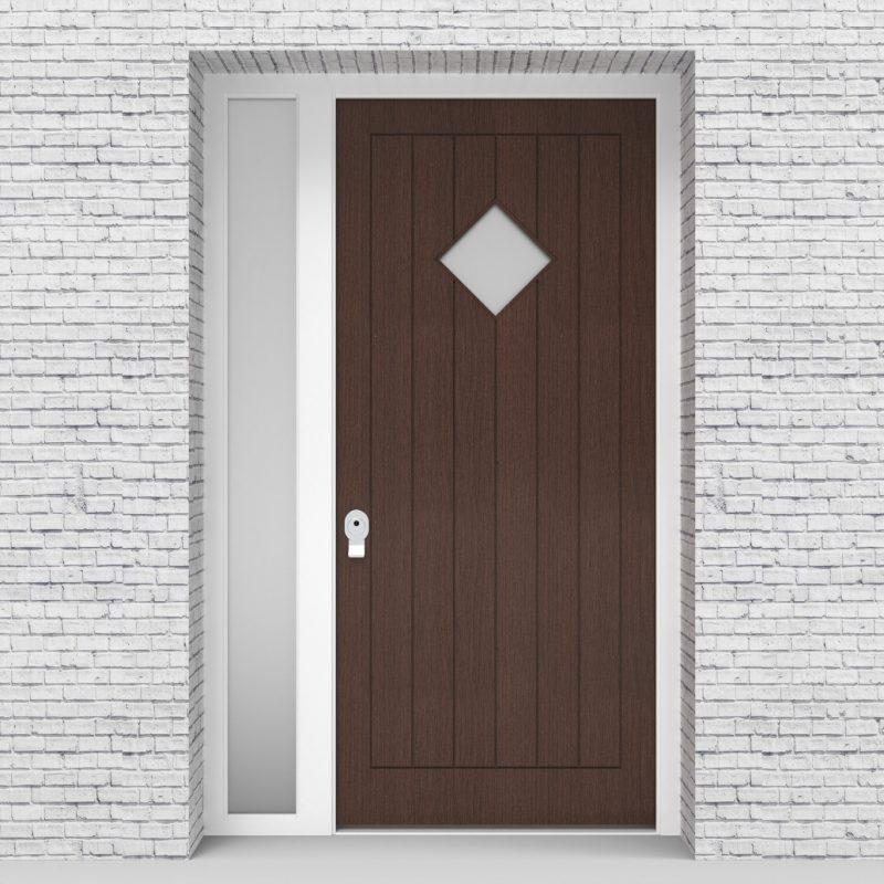 2.single Door With Left Side Panel 7 Vertical Lines With Diamond Pane Dark Oak