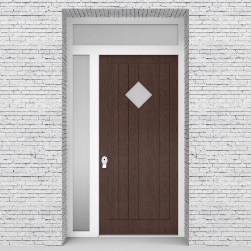 2.single Door With Left Side Panel And Transom 7 Vertical Lines With Diamond Pane Dark Oak