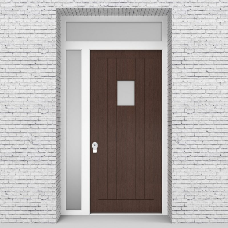 2.single Door With Left Side Panel And Transom 7 Vertical Lines With Rectangle Pane Dark Oak