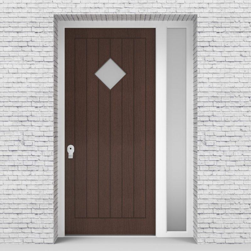 2.single Door With Right Side Panel 7 Vertical Lines With Diamond Pane Dark Oak