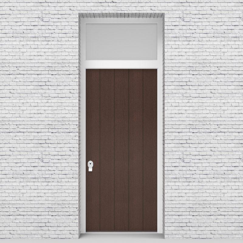 2.single Door With Transom 4 Vertical Lines Dark Oak