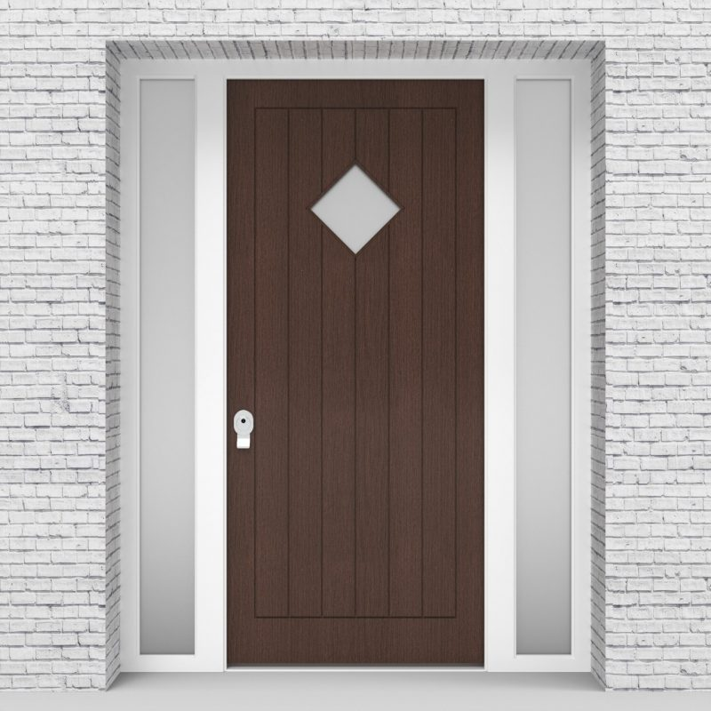 2.single Door With Two Side Panels 7 Vertical Lines With Diamond Pane Dark Oak