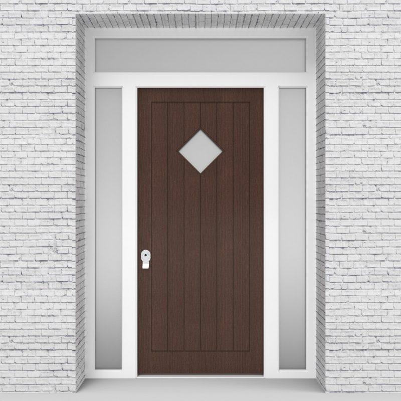 2.single Door With Two Side Panels And Transom 7 Vertical Lines With Diamond Pane Dark Oak