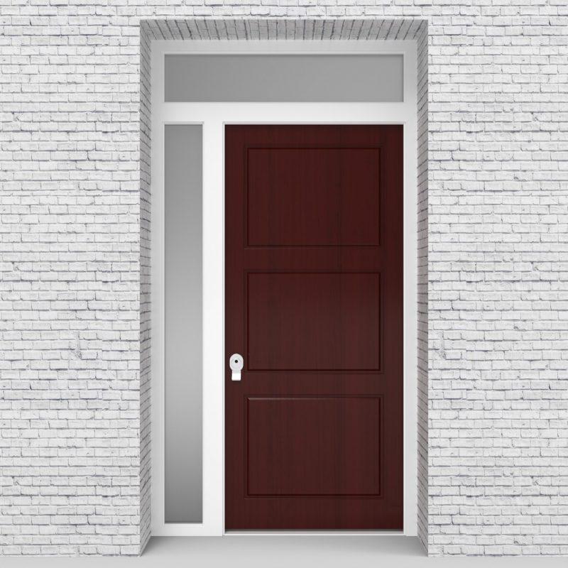 3.single Door With Left Side Panel And Transom Edwardian Mahogany