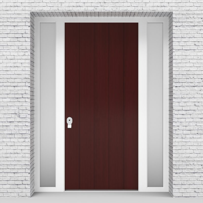 3.single Door With Two Side Panels 4 Vertical Lines Mahogany