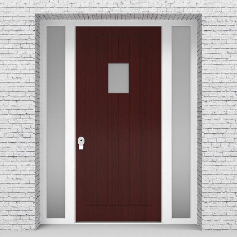 3.single Door With Two Side Panels 7 Vertical Lines With Rectangle Pane Mahogany