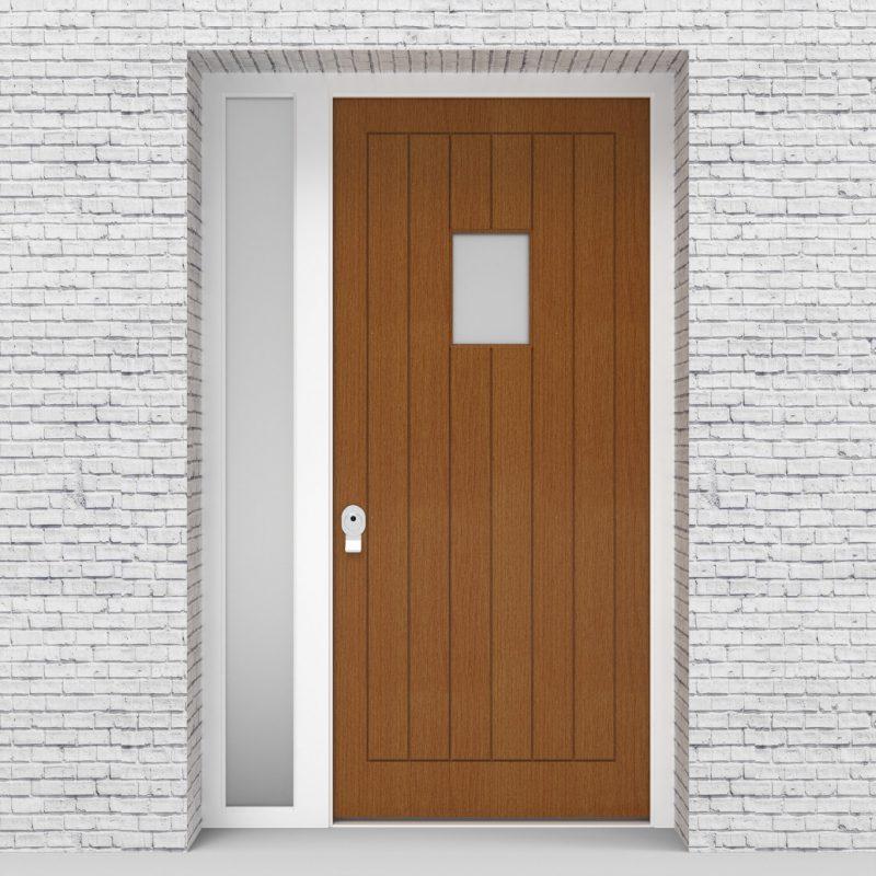 4.single Door With Left Side Panel 7 Vertical Lines With Rectangle Pane Oak