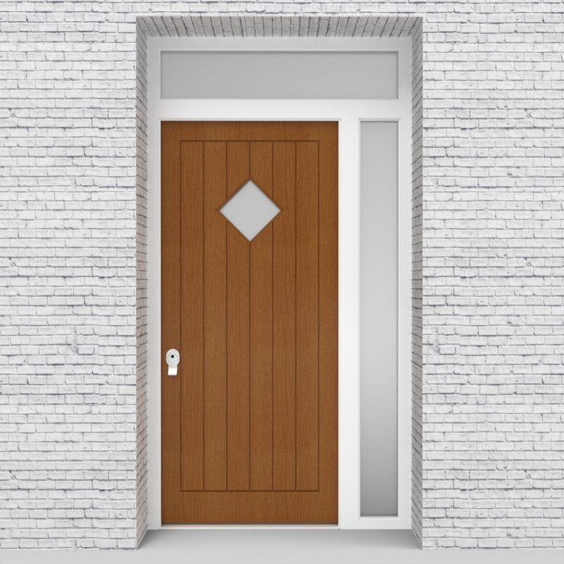 4.single Door With Right Side Panel And Transom 7 Vertical Lines With Diamond Pane Oak