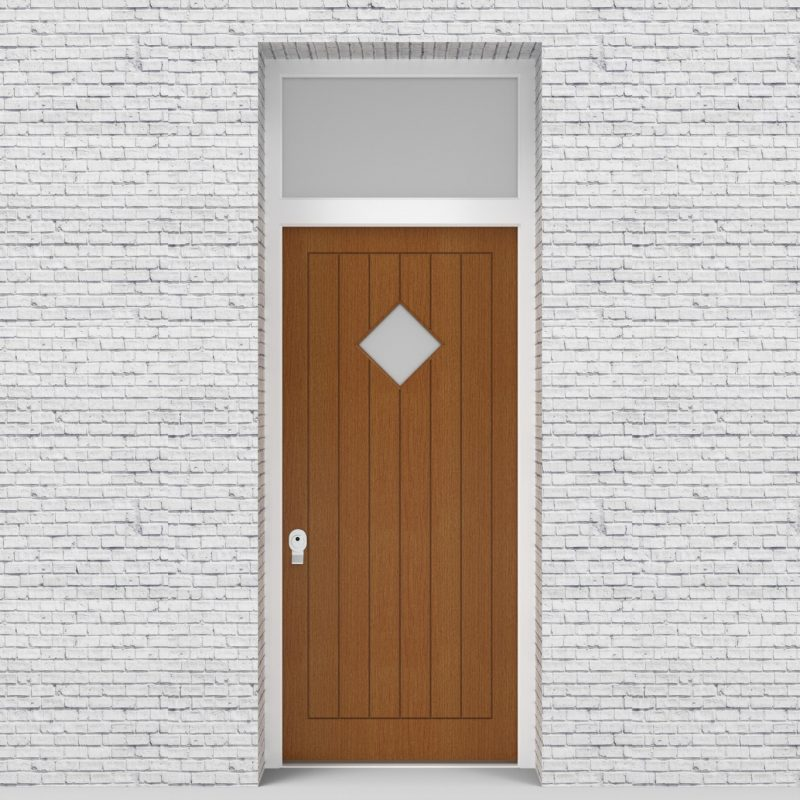 4.single Door With Transom 7 Vertical Lines With Diamond Pane Oak