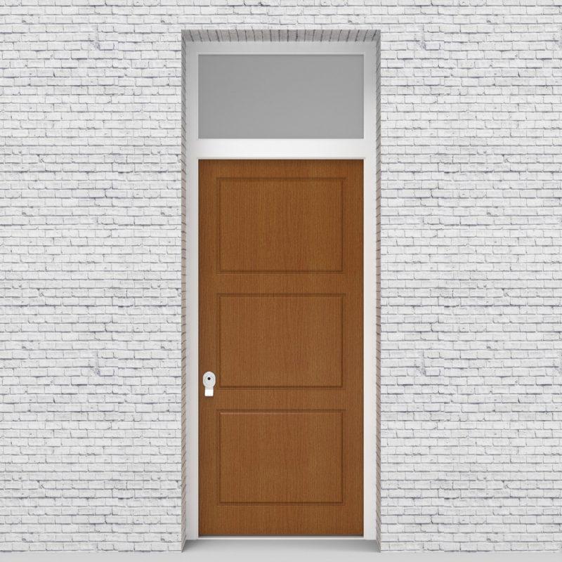 4.single Door With Transom Edwardian 3 Equal Panel Oak