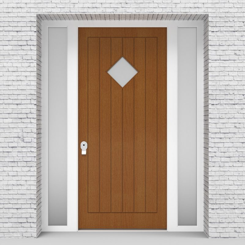 4.single Door With Two Side Panels 7 Vertical Lines With Diamond Pane Oak