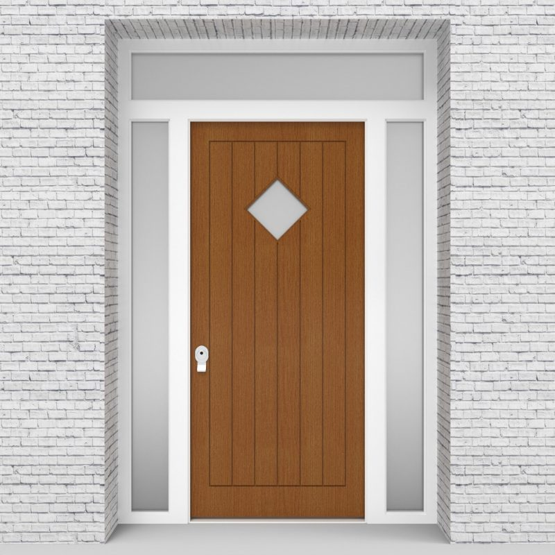 4.single Door With Two Side Panels And Transom 7 Vertical Lines With Diamond Pane Oak