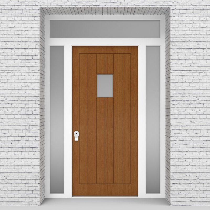 4.single Door With Two Side Panels And Transom 7 Vertical Lines With Rectangle Pane Oak
