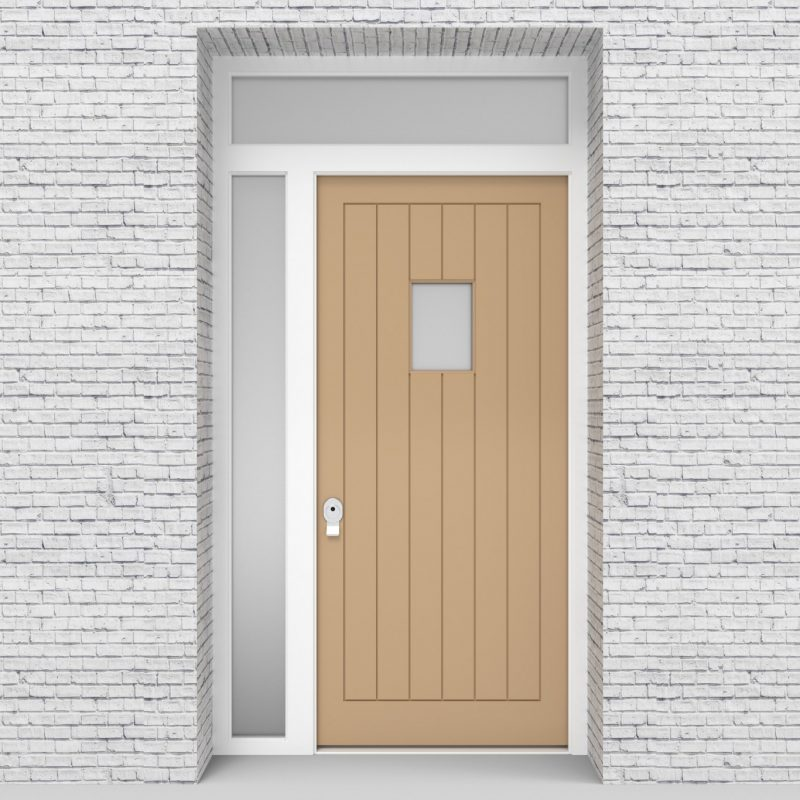 7.single Door With Left Side Panel And Transom 7 Vertical Lines With Rectangle Pane Light Ivory (ral1015)