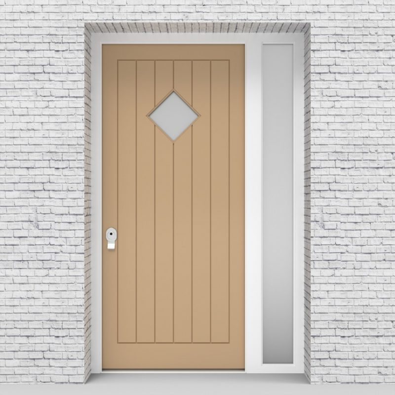 7.single Door With Right Side Panel 7 Vertical Lines With Diamond Pane Light Ivory (ral1015)