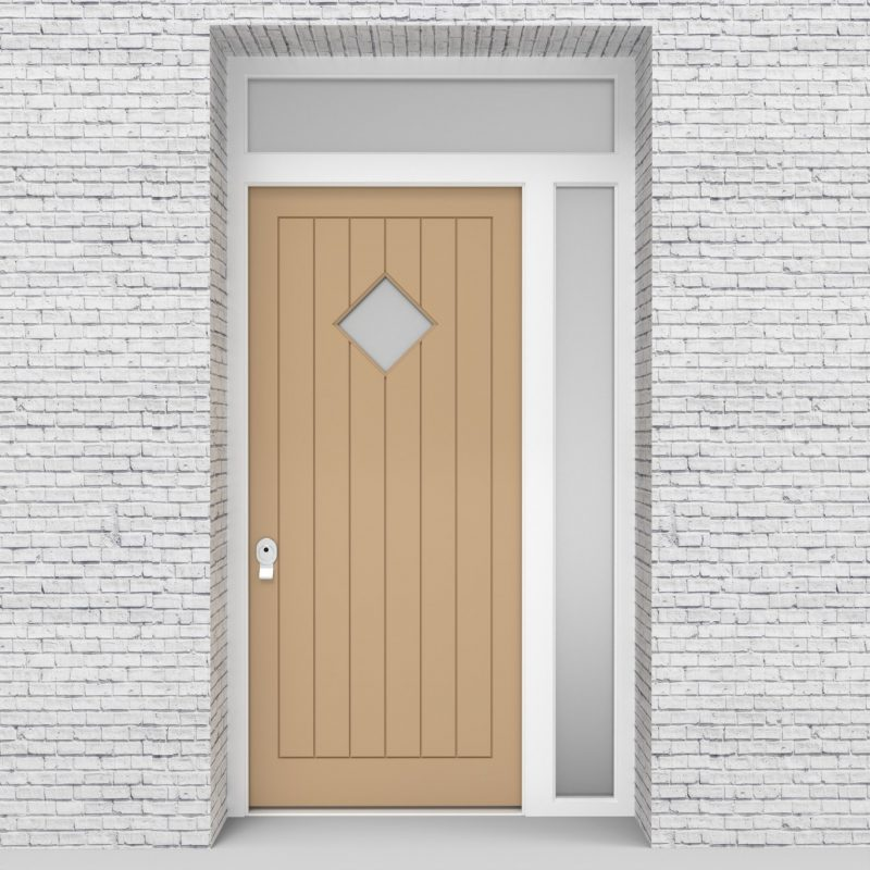 7.single Door With Right Side Panel And Transom 7 Vertical Lines With Diamond Pane Light Ivory (ral1015)