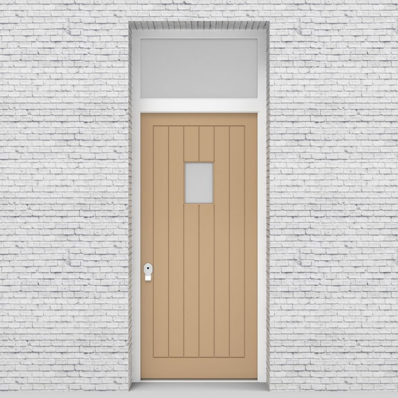 7.single Door With Transom 7 Vertical Lines With Rectangle Pane Light Ivory (ral1015)