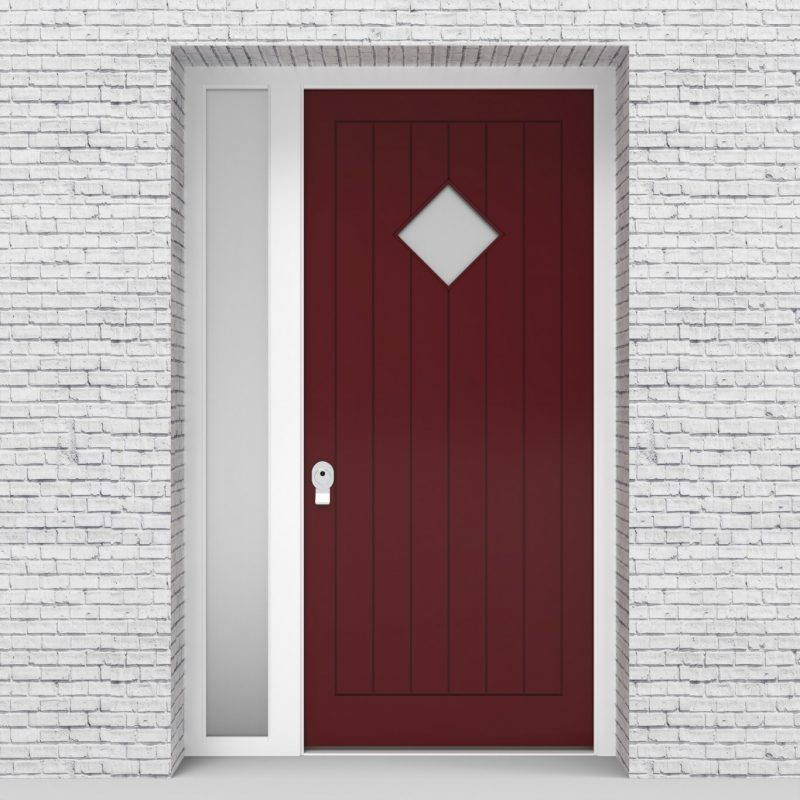 8.single Door With Left Side Panel 7 Vertical Lines With Diamond Pane Ruby Red (ral3003)