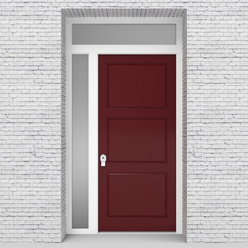 8.single Door With Left Side Panel And Transom Edwardian Ruby Red (ral3003)