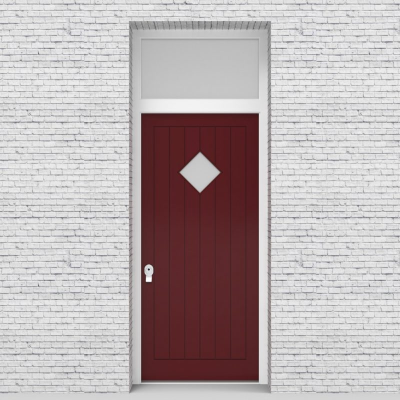 8.single Door With Transom 7 Vertical Lines With Diamond Pane Ruby Red (ral3003)